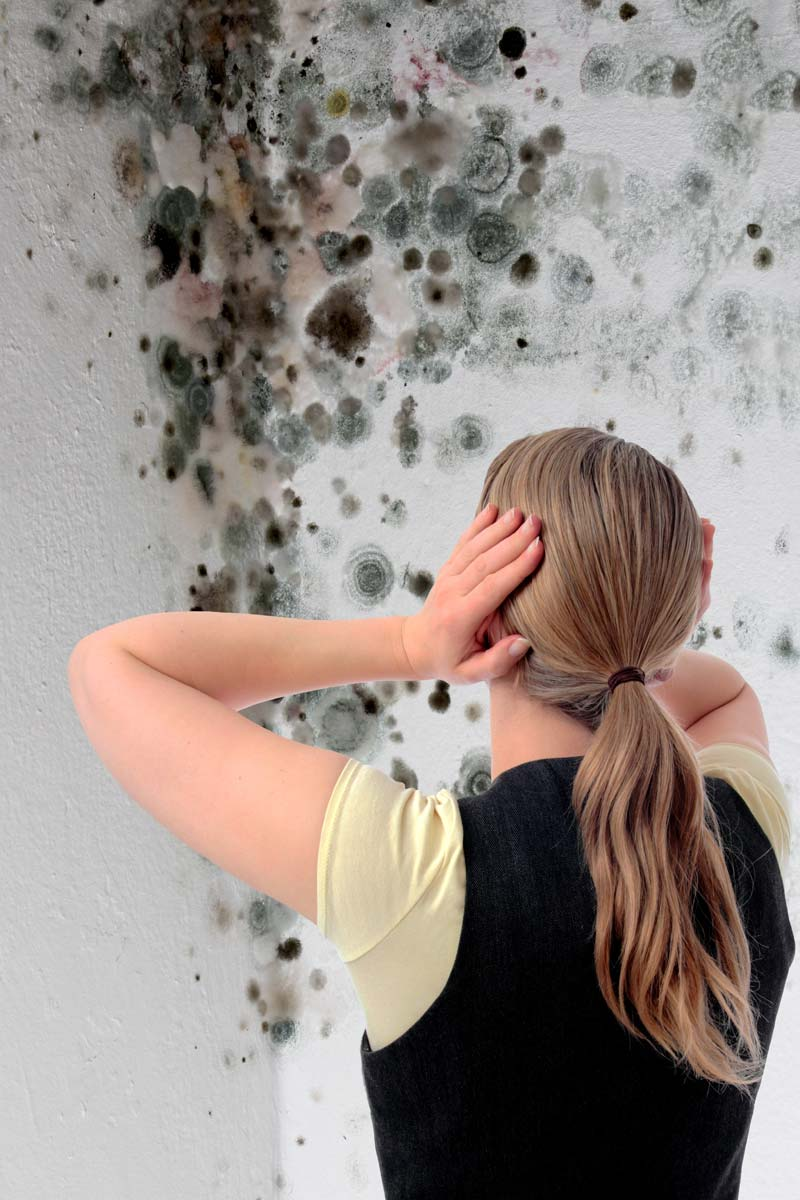 Woman looking at mold in a corner